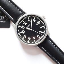 Aristo 3H84, Fliegeruhr, Edelstahl, sandgestraht, Lederband schwarz,Quarz, Datum