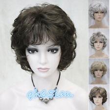 Pelucas de moda para Mujer Marrón Oscuro Mezcla Corto Y Rizado Peluca + Peluca Cap de Cabello de señoras