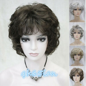 Fashion Women Wigs Dark Brown Mix Short Curly Ladies Hair Wig+Wig Cap