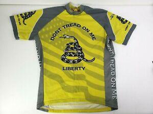 World Jerseys Mens Gray Yellow Dont Tread On Me Liberty Cycling Jersey Size XL