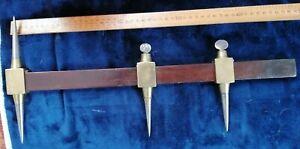 Vintage rare double-sided brass & steel trammel tool