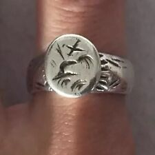 Antique Solid Silver SEAL RING France 18th Century W/Initials Sz6.15