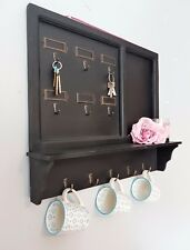 SHABBY CHIC WALL SHELF UNIT KEY HOOKS COAT RACK BLACKBOARD MEMO STORAGE VINTAGE