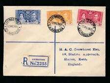 NORTHERN RHODESIA 1937 CORONATION FDC REGISTERED CROWHURST ENVELOPE