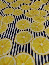 LEMON SLICES ON WHITE & NAVY STRIPE Fabric Scrap Quilt Sew Craft