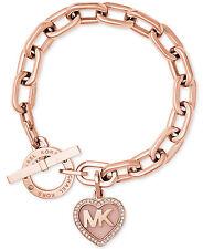 MICHAEL KORS  Rose Gold-tone MK Logo Heart Charm Bracelet