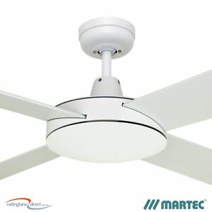 """MARTEC LIFESTYLE 52"""" 1300MM 4 BLADE CEILING FAN NO LIGHT DLS134W - WHITE - NEW!"""
