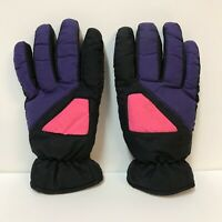 Vintage Thinsulate Gloves Thermal Insulation Black Purple Pink 1990s Snow Ski