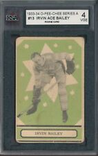 1933-34 O-PEE-CHEE Hockey Card #13 Ace Bailey Leafs Rookie Card Graded KSA 4 VGE