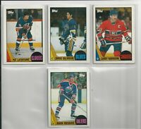 4  TOPPS 1987 HOCKEY cards  LAFONTAINE, GILMOUR, ROBINSON, MESSIER  NRMT