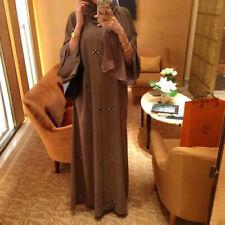 Abaya Fashion Islamic Woman Beaded Cardigan Robe Kaftan Ramadan Arab Eid Dubai