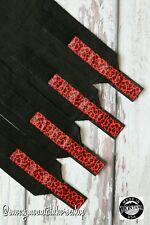 Horse Polo Leg Wraps For Horses Polos Set of 4 Cheetah Red Black Base
