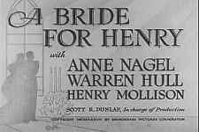 A Bride for Henry 1937 Anne Nagel Comedy  DVD