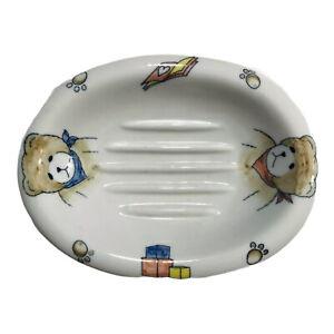 Andrea By Sadek Ceramic Bar Soap Dish Holder Teddy Bear White Bowl Container Kid