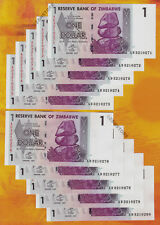 1 Zimbabwe Dollar x 10 Banknotes Consecutive #'s UNC 2007 Currency Lot 10PCS Set
