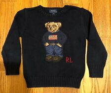 Polo Ralph Lauren Sweater kids boys blue cotton bear crewneck sweater