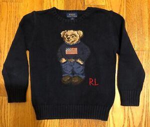 Polo Ralph Lauren Sweater kids boys blue cotton bear crewneck sweater