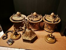 3 Antique Gothic Hanging Light Fixtures wood & plaster church medieval