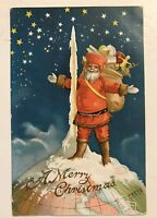 Rare~Santa Claus Standing on Top of the World Antique Christmas Postcard-a42