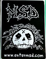 MSD ENTER MSD . COM STITCHED SKULL CRAZY HAIR BLACK WHITE B&W MUSIC CASE STICKER