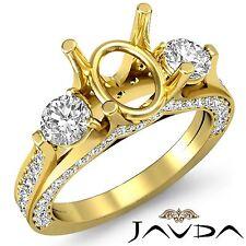 Diamond Engagement Unique Three Stone Ring 18k Yellow Gold Oval Semi Mount 1.3Ct