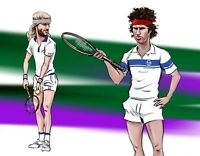 Retro Fila Bj Borg Stirnband und John Mcenroe Rot Stirnband Tennis Kostüm