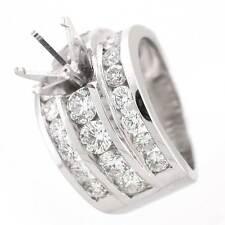 14k White Gold Semi Mount Diamond Ring Setting 3.72 TCW- Channel Set Diamonds