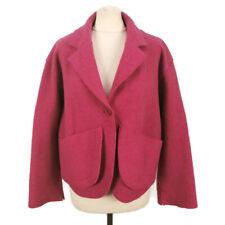 OSKA Size 1 UK 10 12 14 16 Magenta Pink Virgin Wool Jacket Pockets Oversized