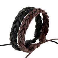 Fashion Men Women Black Brown Handmade Leather Bracelet Braided Bangle Wristband