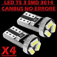 4 LAMPADE T5 3 LED 3014 SMD CANBUS NO ERROR QUADRO STRUMENTI CRUSCOTTO BIANCO