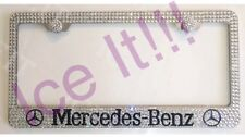 Mercedes Benz W Logo Stainless license plate frame made with Swarovski Crystals