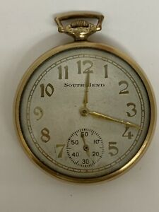 South Bend 12 Size 21J Studebaker Pocket Watch In 14K Gold Filled Case ~ Running