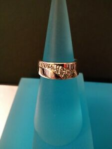 Belleek Irish Jewellery Silver Plated Band Ring set with Zirconias (L.5)