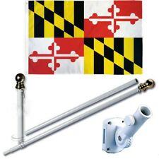 Maryland 3 x 5 Ft Flag Set w/ 6-Ft Spinning Flag Pole + Bracket (Tangle Free)