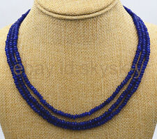 AA  NATURAL 3 Rows 2X4mm FACETED DARK Blue Sapphire BEADS NECKLACE 17-19""