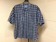 Men's Dockers Blue Checked Shortsleeve Button Down Shirt Size XL