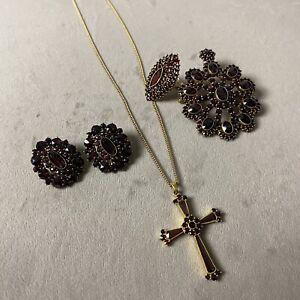 Exquisite Lot of Vintage Bohemian Genuine Garnet Jewelry - NO RESERVE!