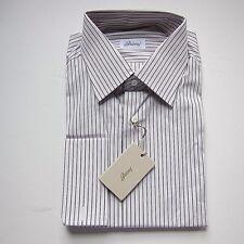 J-1993978 New Brioni White Pink Purple Stripe Oxford Dress Shirt Size 41 US 16
