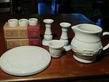 Longaberger Lot (8) Minty Ivory Woven Traditions Trivet Small Pitcher Candle