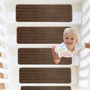 RainDecor Stair Treads Stripes Design Soft Carpet Surface with Slip Resistant...