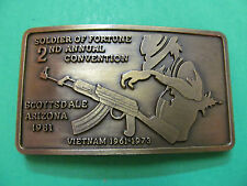Vintage Soldier Of Fortune 1981 Scottsdale Arizona 2nd Annual Conv. Belt Buckle