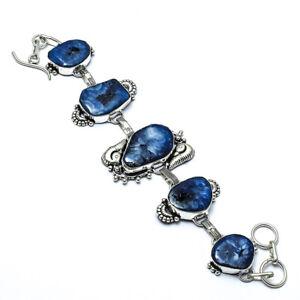 """Lovely Blue Solar Agate Handmade Ethnic Style  Jewelry Bracelet 7-8"""" LL"""