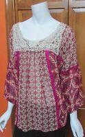 Bila Pink Multi Boho Print Embroidery 3/4 Sleeve Sheer Top NWT Sz L XL  2XL $68