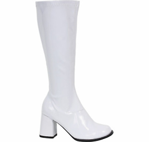 Rubie's White Go-Go Boots, Halloween Costume Accessories, Side Zipper, Size 7