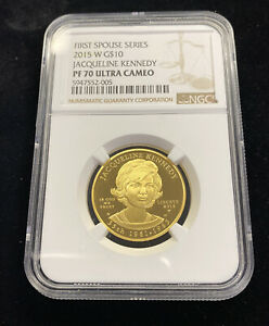 2015-W $10 Gold First Spouse Jacqueline Kennedy Proof NGC PF70 Ultra Cameo