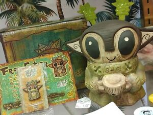 "Tiki Tony Grogu ""Baby Yoda"" Keiki Bob Tiki Mug Tikiland Trading Pin Swizzles Box"