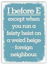 Metal Wall Sign - I Before E Feisty Heist Weird Neighbour Fun Gift Plaque