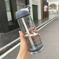 With Straw Drinks Simple Plastic Water Bottle Cycling Hiking Camping Tea Cup G9Z