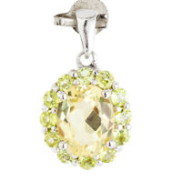 100% NATURAL 10MM CITRINE & PERIDOT AAA+ RARE GEMS STERLING SILVER 925 PENDANT