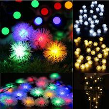 5M 20 LED Solar Power Snow Ball Fairy String Lights Christmas Party Garden